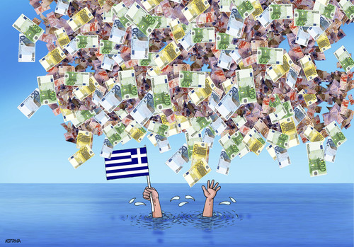 Cartoon: greepomoceu (medium) by kotrha tagged greece,eu,referendum,syriza,tsipras,ecb,reforms,money,debt,euro