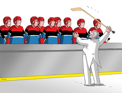 Cartoon: hokdirigent (medium) by kotrha tagged ice,world,hockey,championship,2019,slovakia