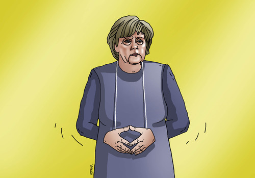Cartoon: merkelangela (medium) by kotrha tagged germany,merkel,hands
