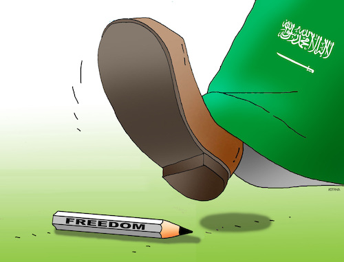Cartoon: saudfreedom (medium) by kotrha tagged journalist,saudi