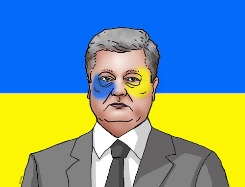 Cartoon: ukporosenko (medium) by kotrha tagged ukraine,election,president,poroshenko,zelenskij,europa,russia