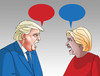 Cartoon: trumpclintkecy (small) by kotrha tagged hillary,clinton,donald,trump,usa,dollar,president,election,world