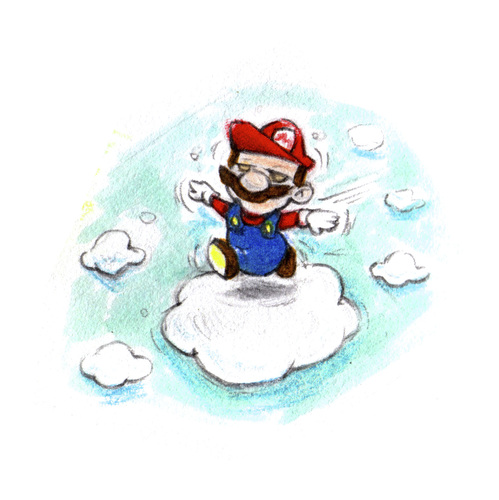 Cartoon: Mario cloud walking (medium) by Trippy Toons tagged super,mario,trippy,marihu,weed,cannabis,stoner,kiffer,ganja,video,game