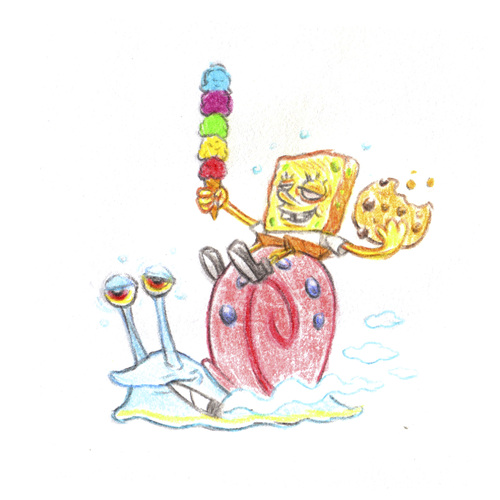 Cartoon: Munchie Sponge riding Gary (medium) by Trippy Toons tagged spongebob,sponge,bob,squarepants,gary,snail,schnecke,schwammkopf,eyes,augen,bloodshot,cannabis,marihuana,marijuana,stoner,stoned,kiffer,kiffen,weed,ganja,smoke,smoking,rauch,rauchen,cookie,cookies,keks,ice,cream,eis,eiswaffel,munchies