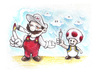 Cartoon: Mario and Toad (small) by Trippy Toons tagged super,mario,toad,trippy,marihu,weed,cannabis,stoner,kiffer,ganja,video,game