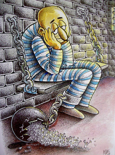 Cartoon: convict (medium) by kotbas tagged prison,convict,hope