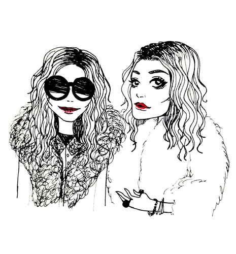 Cartoon: Olsen Twins (medium) by naths tagged girls,sisters,olsen,mary,kate,ashley,twins,fashion