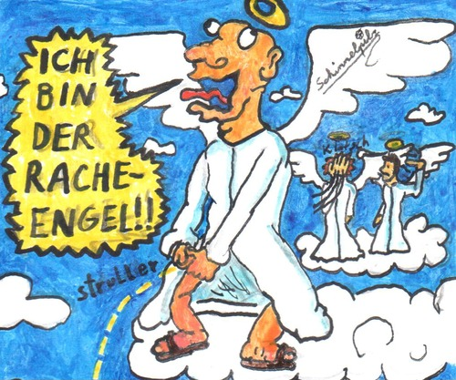 Cartoon: Racheengel (medium) by Schimmelpelz-pilz tagged racheengel,rachetaube,engel,taube,rache,vogelhirn,vogel,flügel,engelsflügel,kutte,robe,wolke,wolken,himmel,urin,strullern,pinkeln,pissen,sandalen,heiligenschein