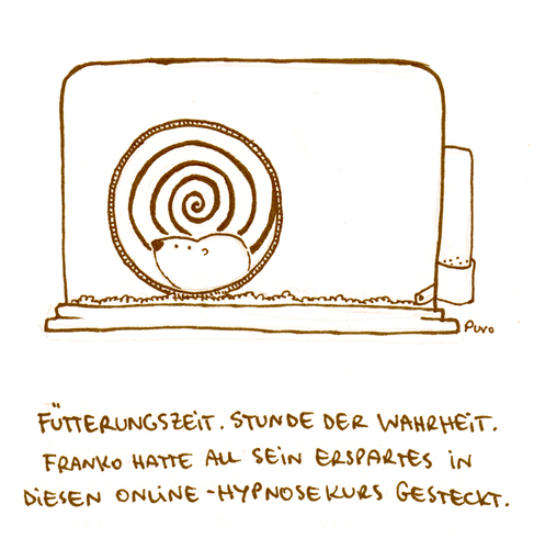 Cartoon: Hypnose. (medium) by puvo tagged hamster,hypnose,hypnotiseur,käfig,cage,freiheit,animal,tier,haustier,pet,nagetier,nager,freedom,rodent,rad,wheel,laufrad,spirale,spiral,optische,täuschung,optical,illusion