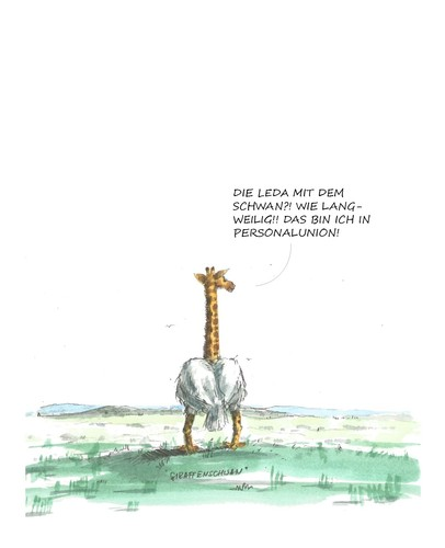 Cartoon: Die Gira mit dem Schwan... (medium) by JORI tagged giraffe,schwan,savanne,weite,landschaft,leda,niggemeyer,joricartoon,cartoon,karikatur
