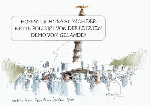 Cartoon: Extinction Rebellion (medium) by JORI tagged extinction,rebellion,ziviler,ungehorsam,klimanotstand,demo,berlin,umweltschutz,umweltzerstörung,artenvielfalt,artensterben