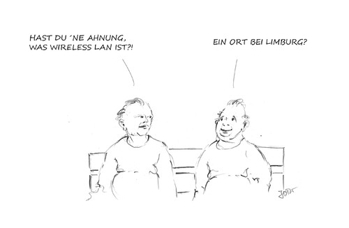 Cartoon: W LAN... (medium) by JORI tagged wlan,computer,internet,technik,kabel,kabellos,limburg,unterhaltung,kommunikation,bank,ahnung,wissen,niggemeyer,joricartoon,cartoon,karikatur