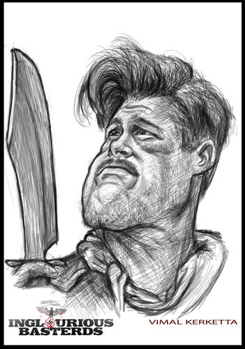 Cartoon: Caricature-Brad Pitt (medium) by vim_kerk tagged caricature,brad,pitt,inglorious,bastard