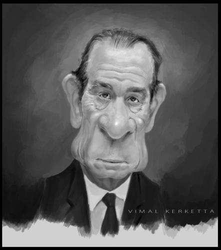 Cartoon: Tommy Lee Jones-caricature (medium) by vim_kerk tagged tommy,lee,jones,caricature,sketch,cartoon