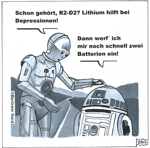 Cartoon: Star Wars backstage (medium) by BAES tagged star,wars,film,kino,roboter,r2d2,c3po,depressionen,krankheit,star,wars,film,kino,roboter,r2d2,c3po,depressionen,krankheit