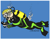 Cartoon: Diver Downwind (small) by JohnnyCartoons tagged scuba,diver,watersports