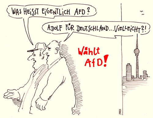 Cartoon: AfD (medium) by Andreas Prüstel tagged afd,alternative,für,deutschland,neue,partei,gründungskongress,eurokritik,cartoon,karikatur,afd,alternative,für,deutschland,neue,partei,gründungskongress,eurokritik,cartoon,karikatur