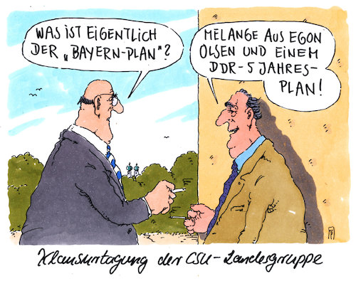 Cartoon: bayern-plan (medium) by Andreas Prüstel tagged csu,klausurtagung,wahlkampf,union,bayernplan,egon,olsen,olsenbande,ddr,planwirtschaft,cartoon,karikatur,andreas,pruestel,csu,klausurtagung,wahlkampf,union,bayernplan,egon,olsen,olsenbande,ddr,planwirtschaft,cartoon,karikatur,andreas,pruestel