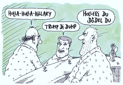 Cartoon: clinton-trump-duell (medium) by Andreas Prüstel tagged usa,präsidentschaftskandidaten,tv,duell,hillary,clinton,donald,trump,loriot,cartoon,karikatur,andreas,pruestel,usa,präsidentschaftskandidaten,tv,duell,hillary,clinton,donald,trump,loriot,cartoon,karikatur,andreas,pruestel
