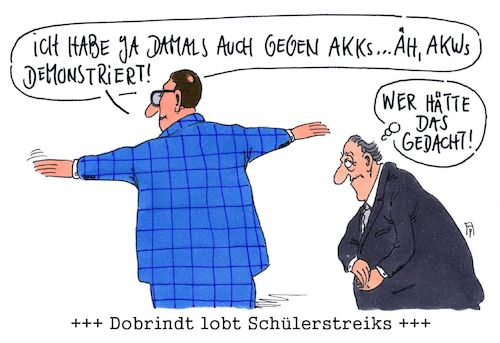 Cartoon: erstaunlich (medium) by Andreas Prüstel tagged dobrindt,csu,friday,for,future,schülerstreiks,lob,akk,akw,cartoon,karikatur,andreas,pruestel,dobrindt,csu,friday,for,future,schülerstreiks,lob,akk,akw,cartoon,karikatur,andreas,pruestel