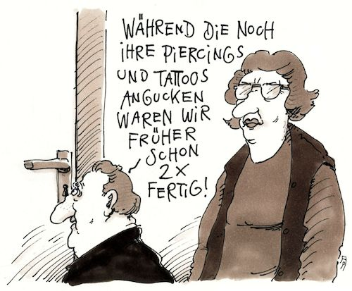 Cartoon: früher (medium) by Andreas Prüstel tagged generationen,tattoos,piercings,eltern,cartoon,karikatur,andreas,pruestel,generationen,sex,tattoos,piercings,eltern,cartoon,karikatur,andreas,pruestel