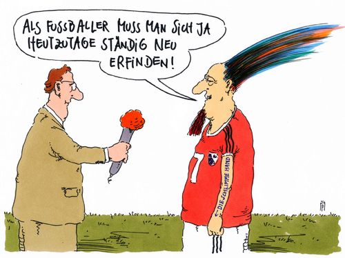 Cartoon: fußballer (medium) by Andreas Prüstel tagged fußball,fußballer,styling,cartoon,karikatur,andreas,pruestel,fußball,fußballer,styling,cartoon,karikatur,andreas,pruestel