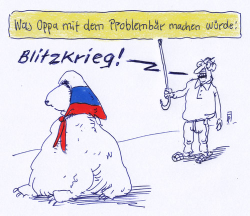 Cartoon: problembär (medium) by Andreas Prüstel tagged russland,ukraine,konflikt,deutsche,zweiter,weltkrieg,blitzkrieg,bär,problembär,opa,cartoon,karikatur,andreas,pruestel,russland,ukraine,konflikt,deutsche,zweiter,weltkrieg,blitzkrieg,bär,problembär,opa,cartoon,karikatur,andreas,pruestel