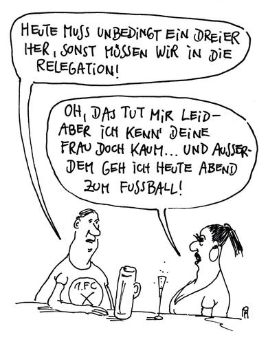 Cartoon: relegation (medium) by Andreas Prüstel tagged fußball,relegationsspiele,dreier,flotter,cartoon,karikatur,andreas,pruestel,fußball,relegationsspiele,dreier,flotter,cartoon,karikatur,andreas,pruestel
