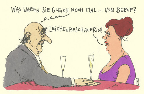 Cartoon: stets im dienst (medium) by Andreas Prüstel tagged bar,frau,mann,leichenbeschauerin,job,cartoon,karikatur,bar,frau,mann,leichenbeschauerin,job,cartoon,karikatur