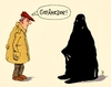 Cartoon: gefährder (small) by Andreas Prüstel tagged islamisten,terror,gefährder,deutschland,is,bürger,burka,cartoon,karikatur,andreas,pruestel