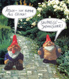 Cartoon: zwergendialog (small) by Andreas Prüstel tagged gartenzwerge,garten,bayrisch,china,japan,preussen,cartoon,collage,andreas,pruestel