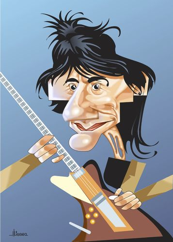 Cartoon: Ron Wood (medium) by Ulisses-araujo tagged ron,wood,caricature