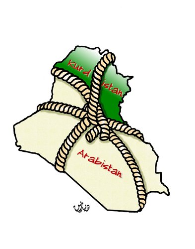 Cartoon: A unified Iraq by force cartoon (medium) by handren khoshnaw tagged kurdistan,iraq,khoshnaw,handren