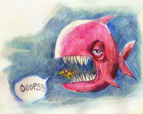 Cartoon: Ooops! (medium) by kap tagged fish,sketch,doodle,scribble