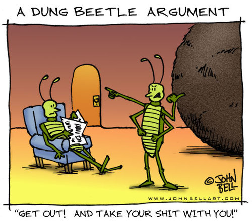 Cartoon: A Dung Beetle Argument (medium) by JohnBellArt tagged dung,beetle,argument,bugs,shit,crap,husband,wife,partner,fight,angry,divorce,mad