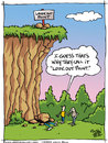 Cartoon: Look Out Point (small) by JohnBellArt tagged look,out,point,fall,rocks,cliff,death,humor,irony,crush