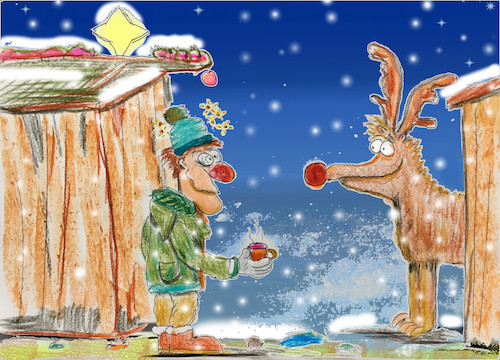 Cartoon: xmas miracle (medium) by ab tagged xmas,christmas,market,weihnachtsmarkt,grog,glühwein,reindeer,drinking,drunk,man