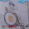 Cartoon: wheelman (small) by ab tagged rollstuhl,insekten,blut