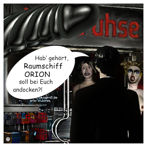 Cartoon: Raumschiff ORION (medium) by Night Owl tagged beate,uhse,konzern,erotikversand,orion,versandhändler,branchenpionier,insolvenz,flensburg,rotermund