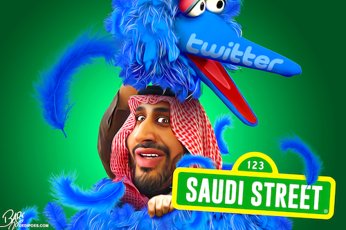 Cartoon: Saudi Street (medium) by Bart van Leeuwen tagged former,twitter,employees,spying,saudi,arabia,mohammed,bin,salman,dissidents