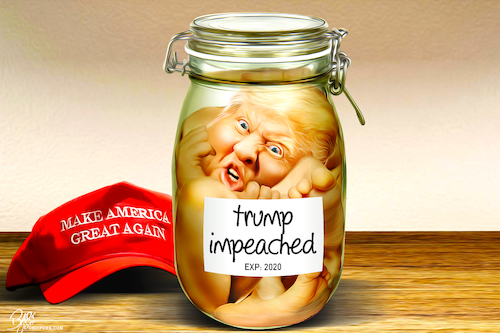 Cartoon: Trump Impeached (medium) by Bart van Leeuwen tagged trump,impeachmend,impeach,make,america,great,again