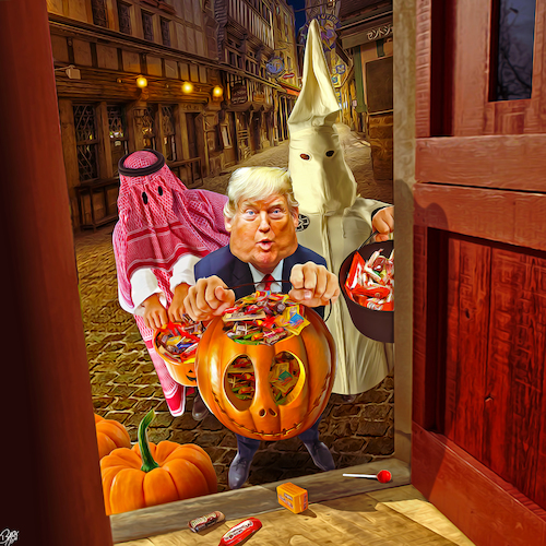 Cartoon: Trump or Treat (medium) by Bart van Leeuwen tagged halloween,trump,trick,or,treat,ghost,kkk,saudi,arabia