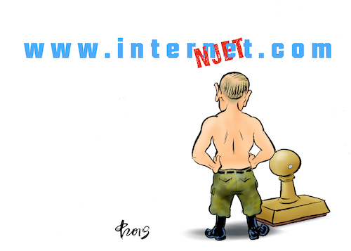 Cartoon: Internjet (medium) by Paolo Calleri tagged russland,praesident,wladimir,putin,gesetz,justiz,internet,kommunikation,medien,meinung,meinungsfreiheit,demokratie,karikatur,cartoon,paolo,calleri,russland,praesident,wladimir,putin,gesetz,justiz,internet,kommunikation,medien,meinung,meinungsfreiheit,demokratie,karikatur,cartoon,paolo,calleri