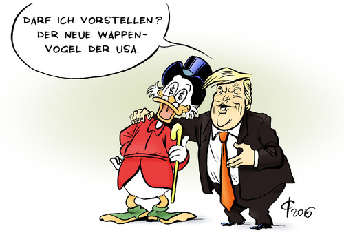 Cartoon: Wappenvogel (medium) by Paolo Calleri tagged usa,praesidentschaft,praesident,wahlen,republikaner,donald,trump,unternehmer,millionaere,milliardaere,posten,kabinett,mnister,wall,street,establishement,populismus,finanzen,kapital,wappen,wappentier,vogel,weiskopfseeadler,dagobert,duck,karikatur,cartoon,paolo,calleri,usa,praesidentschaft,praesident,wahlen,republikaner,donald,trump,unternehmer,millionaere,milliardaere,posten,kabinett,mnister,wall,street,establishement,populismus,finanzen,kapital,wappen,wappentier,vogel,weiskopfseeadler,dagobert,duck,karikatur,cartoon,paolo,calleri