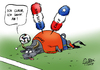 Cartoon: Abgang (small) by Paolo Calleri tagged brasilien,sport,meisterschaft,wm,2014,fifa,fussball,weltmeisterschaft,weltmeister,spanien,vorrunde,niederlande,chile,ausscheiden,niederlagen,thron,juan,carlos,abdankung,sohn,felipe,vi,thronfolger,thronwechsel,karikatur,cartoon,paolo,calleri