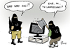 Cartoon: IS-Hacker (small) by Paolo Calleri tagged frankreich,fernsehen,tv,sender,tv5,monde,is,islamischer,staat,islamisten,terroristen,computer,lahmlegung,hackangriff,hacker,karikatur,cartoon,paolo,calleri