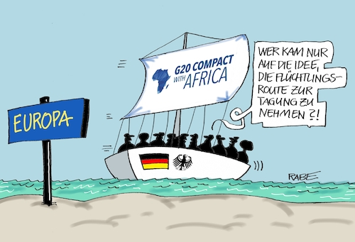 Cartoon: Afrika Kompakt (medium) by RABE tagged merkel,kanzlerin,staatsempfang,staatsgäste,hymne,nationalhymne,hymnenphobie,phobie,rabe,ralf,böhme,cartoon,karikatur,pressezeichnung,farbcartoon,tagescartoon,initiative,compact,with,africa,afrika,finanzministerium,flüchtlingsroute,schlepper,mittelmeer,segelboot,europa,wasser,wellen,meer,tagung,anreise,ausbeutung,merkel,kanzlerin,staatsempfang,staatsgäste,hymne,nationalhymne,hymnenphobie,phobie,rabe,ralf,böhme,cartoon,karikatur,pressezeichnung,farbcartoon,tagescartoon,initiative,compact,with,africa,afrika,finanzministerium,flüchtlingsroute,schlepper,mittelmeer,segelboot,europa,wasser,wellen,meer,tagung,anreise,ausbeutung