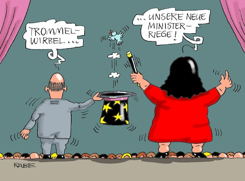 Cartoon: Hokuspokus (medium) by RABE tagged sonderparteitag,spd,martin,schulz,ja,groko,koalitionsverhandlungen,rabe,ralf,böhme,cartoon,karikatur,pressezeichnung,farbcartoon,tagescartoon,merkel,union,koalitionsgespräche,kabinett,ministerposten,nahles,scholz,maas,bühne,zauberer,hokuspokus,zylinder,vögelchen,bühnenshow,sonderparteitag,spd,martin,schulz,ja,groko,koalitionsverhandlungen,rabe,ralf,böhme,cartoon,karikatur,pressezeichnung,farbcartoon,tagescartoon,merkel,union,koalitionsgespräche,kabinett,ministerposten,nahles,scholz,maas,bühne,zauberer,hokuspokus,zylinder,vögelchen,bühnenshow