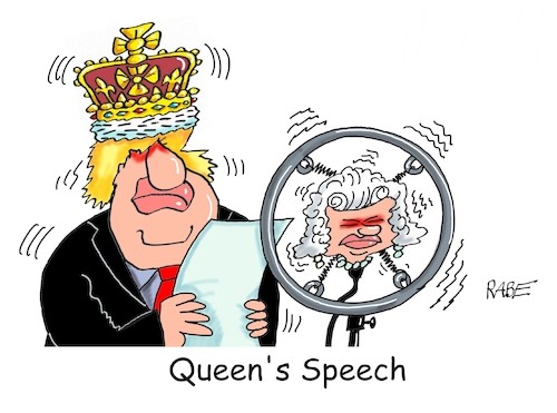 Cartoon: Queens Speech (medium) by RABE tagged brexit,no,deal,johnson,boris,downing,street,austritt,eu,brüssel,london,rabe,ralf,böhme,cartoon,karikatur,pressezeichnung,farbcartoon,tagescartoon,may,juncker,luxemburg,queen,elisabeth,queens,speech,parlament,brexit,no,deal,johnson,boris,downing,street,austritt,eu,brüssel,london,rabe,ralf,böhme,cartoon,karikatur,pressezeichnung,farbcartoon,tagescartoon,may,juncker,luxemburg,queen,elisabeth,queens,speech,parlament