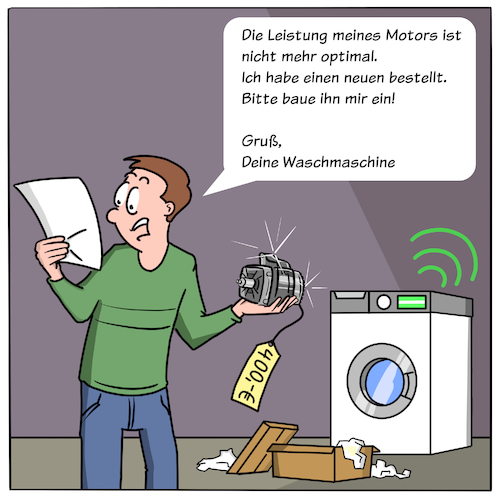 Cartoon: Predictive Maintenance (medium) by CloudScience tagged smart,home,iot,internet,der,dinge,of,things,waschmaschine,digitalisierung,digital,technologie,technisch,technik,vernetzt,vernetzung,daten,analyse,analytik,predictive,maintenance,intelligenz,intelligent,data,cloud,bestellung,kosten,shop,business,automatisch,automatisierung,haus,sensoren,sensor,moeller,illustration,cartoon,industrie,40,smart,home,iot,internet,der,dinge,of,things,waschmaschine,digitalisierung,digital,technologie,technisch,technik,vernetzt,vernetzung,daten,analyse,analytik,predictive,maintenance,intelligenz,intelligent,data,cloud,bestellung,kosten,shop,business,automatisch,automatisierung,haus,sensoren,sensor,moeller,illustration,cartoon,industrie,40